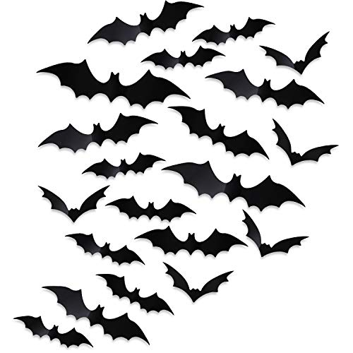 Boao 96 Pieces DIY 3D Bats Wall Decal Sticker Halloween Party Supplies for Halloween Eve Decor Home Window Decoration(Black)