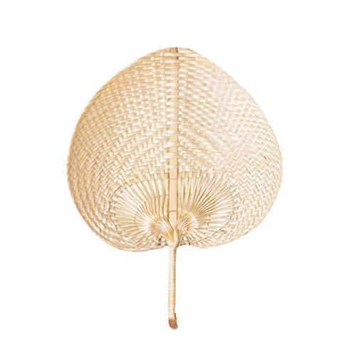Huaduo Abanico de rafia natural hecho a mano, de bambú, ventiladores naturales, hechos a mano, flores de melocotón, para el verano, regalos de boda