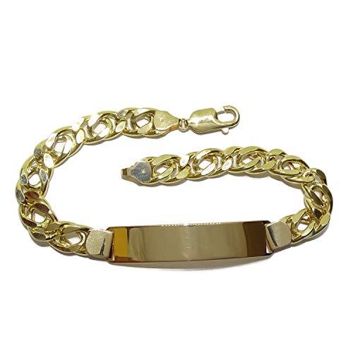 Never Say Never Bracelet pour homme avec plaque en or massif 18 carats, 0,80 cm de large et 22,00 cm de long. Chaîne modèle double barbe plate en or 18 carats. 16,50 g d'or de 18 carats.