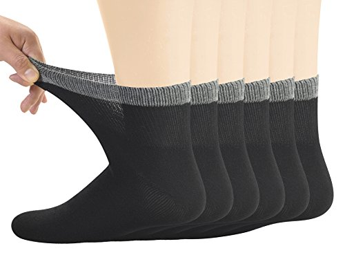 Yomandamor Men's Bamboo Diabetic Ankle Socks with Seamless Toe Product Image