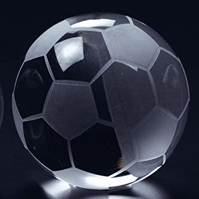 """Waltz&F 50mm Clear Crystal Football Paperweight with Base Stand Crystal Collectible Figurines,Dia Approx 1.97"""""""
