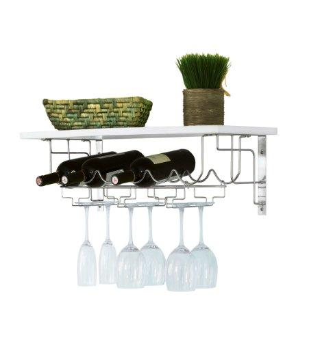 WENKO 2365100 Küchen-Wandregal Nizza - Weinablage, Gläserhalter, Pinienholz, 67 x 23 x 30 cm, weiß