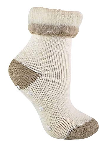 sock snob Damen Creme Winter Alpaka Wolle Anti Rutsch Kuschelsocken mit Sternen Abs (37/42, 07 Beige)