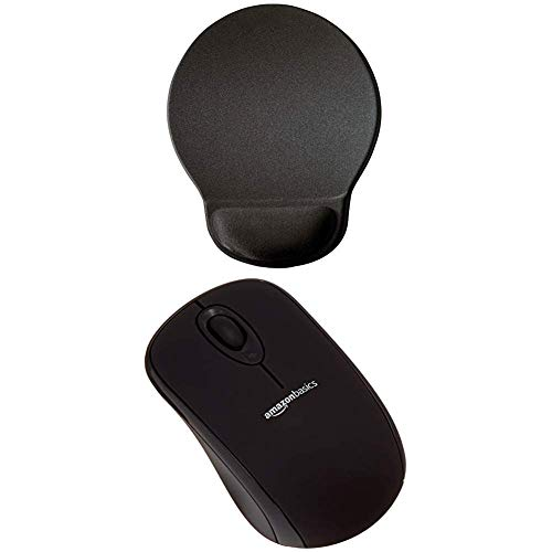 Durable Ergonomisches Gel-Mauspad 574858 (Ergotop mit Gel, 230 x 260 x 26 mm) mit Amazon Basics Schnurlose Maus mit Nano-Empfänger