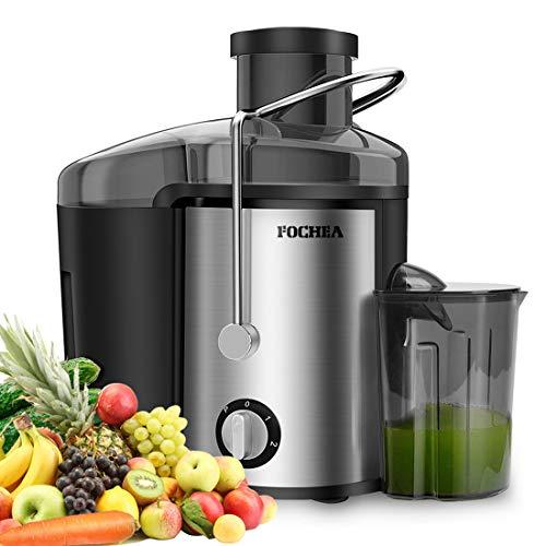 Licuadora para frutas y verduras de acero inoxidable FOCHEA Licuadora centrífuga Juicer 65 mm de ancho de apertura de llenado 3 velocidades con 450 ml de recipiente de zumo y cepillo de limpieza