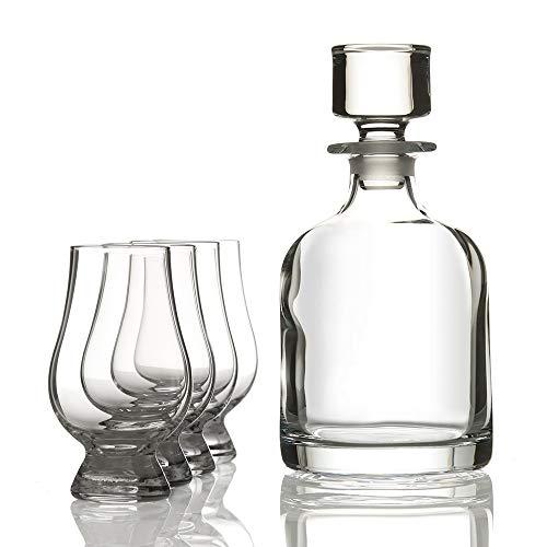 Eburya Glencairn Iona Whisky Set aus Schottland - Kristall Karaffe & 4 Tasting Gläser