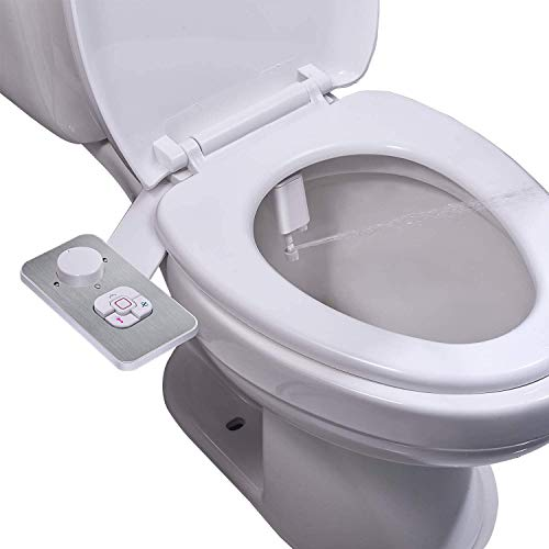Bidet Attachment - SAMODRA Non-electric Cold Water Bidet Toilet Seat Attachment with Pressure Controls,Retractable Self-cleaning Dual Nozzles for Frontal & Rear Wash