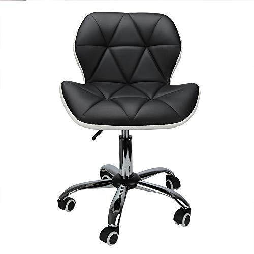 Mutiwill Chaise de Bureau Pivotante - Siege de Bureau pour Ordinateur à roulettes - Hauteur Réglable avec Dossier Cuir Synthétique - Noir