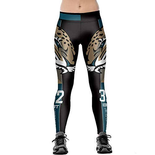YJKGPZQLZ Yoga Hosen Leggings Printed Unisex Football Team Jaguars 32 Print Enge Hosen Workout Fitnesstraining Laufen Yoga Sport Fitness...