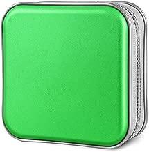 Siveit CD Case, 40 Capacity CD DVD Heavy Duty Wallet Storage Organizer Holder VCD Binder Bag Album Booklet (A-Green)
