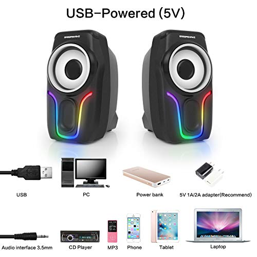 Computer Speakers,2.0 Stereo Volume Control Gaming Speakers with Surround Sound,6 RGB LED Backlit Effect,USB Powered Wired Laptop Speakers with 3.5mm for Desktop Computer/PC/Laptops(Black)