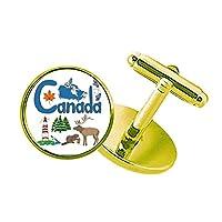カナダの国家の象徴のランドマークのパターン スタッズビジネスシャツメタルカフリンクスゴールド