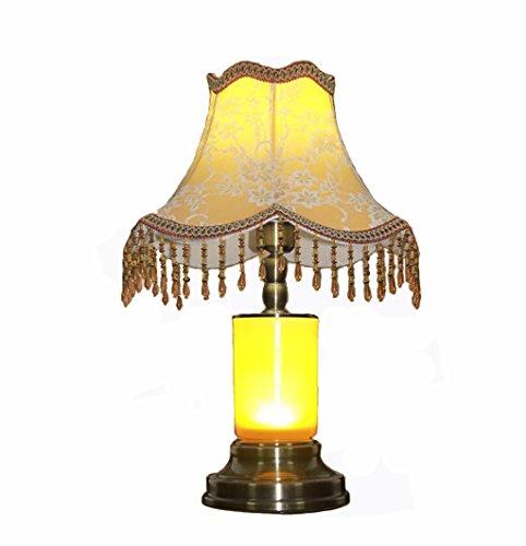 ZWL Led Bedroom Éclairage de chevet, rétro style européen Décoration Lampe de table Étude à domicile Salle de séjour Lampe de table Chambres d'hôtel Cylindre Lampe de table E27 Buse à vis Bouton d'alimentation 45.5 * 33cm fashion.z ( taille : 45.5*33cm )