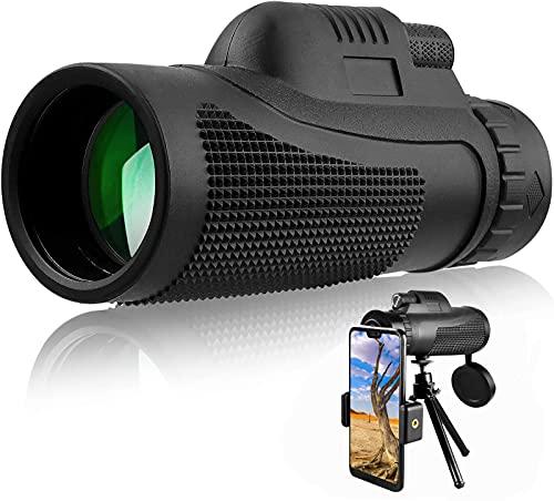 SXMY Telescopio monocular de alta potencia, 40 x 60 HD, resistente al agua, BAK4 FMC, prisma monocular con soporte y trípode, para adultos y niños para observación de aves, camping, senderismo