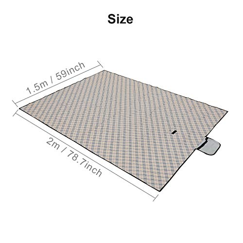 Queiting 2M*1.5M Large Picnic Blanket Waterproof Beach Convenience Pad Folding Travel Picnic Beach Outdoor Blanket Waterproof Oversized Portable Blanket Hiking Travel Picnic Blanket Brown
