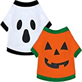 2 Pieces Halloween Pet Clothes Pumpkin Dog T-Shirt Ghost Dog Shirt Cute Printed Pet Shirts for Dogs and Cats (Large)