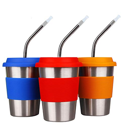 3 Pack 12 oz. Stainless Steel Cups with Silicone Sleeves,Lids,Brush and Straws,Drinking Cup Eco-Friendly BPA-Free for Adults, Kids and Toddlers (3, 12 OZ)