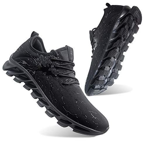 Honnesserry Black Running Shoes for Men Lightweight Best Keep Nice Stability Comfortable Athletic Training Sport Gym Road Run Sneakers Young Mens Size 9.5