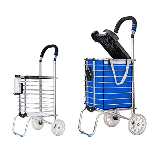 Lightweight Shopping Trolley,Aluminium Einkaufswagen Folding Transport Rollstuhl Senioreneinkaufswagen, Einkaufswagen, Blau,2 rounds,flat section