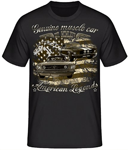 Shirtmatic Genuine Mustang 60s 70s Vintage Oldtimer American Muscle car T-Shirt Design (5XL, 60s Stang schwarz)