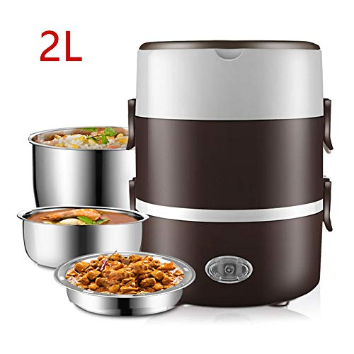DROB 3 Schicht stapelbar Elektrische Isolierte Lunchbox,Speisenwärmer Warmhaltebox,2L Edelstahl Bento Box für Adulti,Büro/A