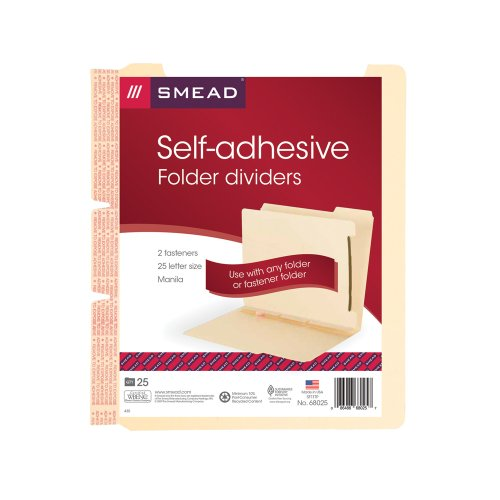 Smead 68025 Manila Self-Adhesive Folder Dividers w/2-Prong Fastener, 2-Sect, Letter (Pack of 25)
