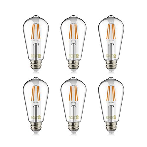 Helloify Light Vintage Edison, Equivalent 60W, Dimmable, High Brightness Warm White 2700K, ST64 / ST21 Antique LED Filament Bulbs, E26 Medium Base, Clear Glass, Pack of 6