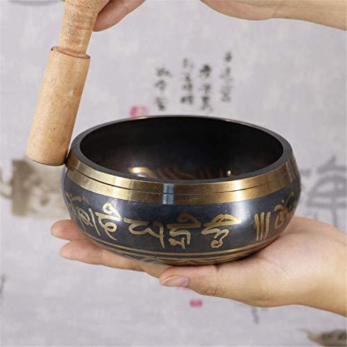 SHANCL Cuenco de sonido de meditación, conjunto de tazón de cuenco tibetano yoga Terapia de sonido de cobre de la yoga Cuenco de sonido del chakra con el estrés y la ansiedad de Mantra curativo, 9,5 c