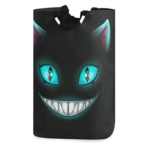 Lsjuee Evil Cat Laudry Hamper,Waterproof and Foldable Laundry Bag for Storage Dirty Clothes Toys in Bedroom,Bathroom Dorm Room