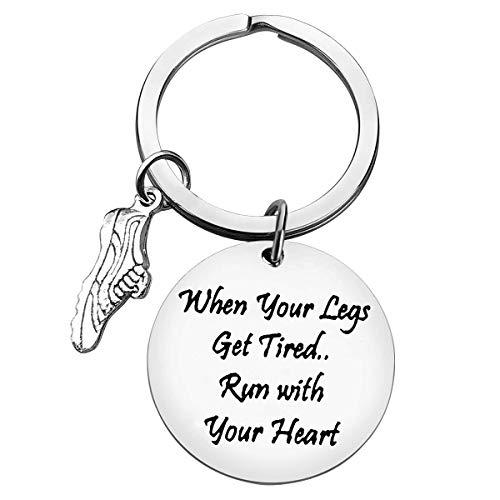 Lustiges Fitness-Geschenk, Läufer, Geschenk, Schlüsselanhänger, Trainer, Schmuck, Fitnessstudio, Training, inspirierendes wenn Ihre Beine müde werden, mit Ihrem Herz-Schlüsselanhänger aus Edelstahl