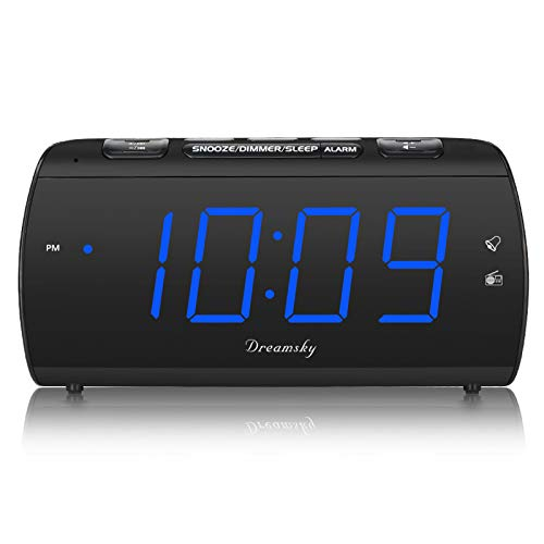 DreamSky Digital Alarm Clock Radio with USB Charging Port, FM Radios with Headphone Jack, Large 1.8 Inch LED Display with Dimmer, Snooze, Sleep Timer, Plug in Alarm Clock Blue Display for Bedroom