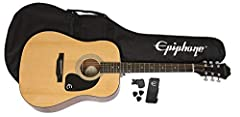 Classic Epiphone Dreadnought with select spruce top Mahogany Neck Includes gigbag, strap, picks, and clip/on headstock chromatic tuner Online lessons from eMedia available in English, Spanish, French, and German