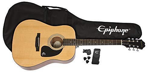 Epiphone FT-100 Acoustic Guitar Player Pack with Gigbag, Strap, Picks, and Tuner - Natural