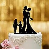 Figura para decoración de tarta de bodas, cristal acrílico negro, tamaño XL, para...