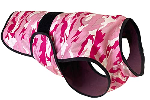 LUCOLOVE Dog Cooling Vest, Breathable 2-Layer Evaporative Microfiber Camo Print Pet Cooler for Training, Walking, Hiking and Running in Summer, UPF 50 Protection (Pink, Large)