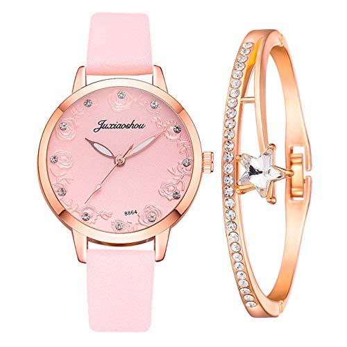 Hunpta @ Damen Armbanduhren Armband Set Analog Quarz Uhr Exquisit Rose Strass Zifferblatt Frauen Mädchen Armbanduhr Lederarmband Legierung Uhren Weihnachten Geburtstag Kreativ Geschenk