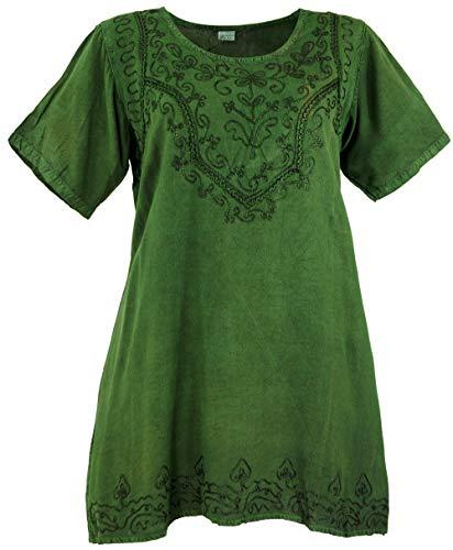 GURU SHOP Besticktes Indisches Hippie Top, chic Bluse, Damen, Dunkelgrün, Synthetisch, Size:40, Blusen & Tunikas Alternative Bekleidung