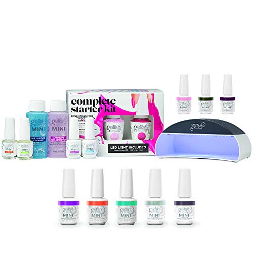 Gelish MINI Professional Soak Off Gel Nail Polish Starter Kit with 10 Gel Polish Colors & LED Light