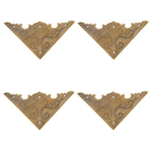 Tiazza 4 Stücke Antike Messing Dekorative Kantenschutz Holz Schmuck Geschenkbox Schrank Kupfer Zubehör Schutzkante Abdeckung Flache Eckstrebe