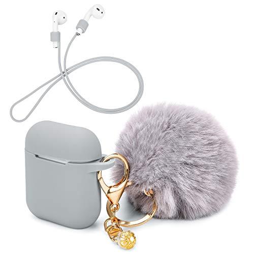 OOTSR Schutzhülle mit süßem Pompon-Ball-Schlüsselanhänger kompatibel mit Apple AirPods-Ladekoffer, voller Silikonhülle und Anti-Lost-Strap für Apple AirPods als Geschenke (Grau)