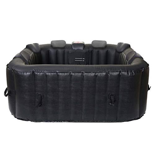 Mendler Whirlpool HWC-E32, 6 Personen In-/Outdoor heizbar aufblasbar 185x185cm FI-Schalter + Zubehör