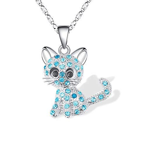 Cheerslife Kitty Katze Anhänger Halskette Schmuck für Frauen Mädchen Kinder, Katzenliebhaber Geschenke Tochter liebte Halskette 18 + 2,3 Zoll Kette, BLAU