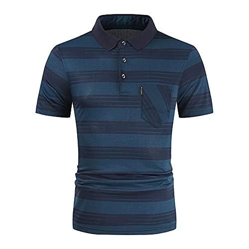 Polo Shirt Hombre Moderna Urbana Moda Empalme Botón Placket Bolsillo Hombre Shirt Verano Básico Delgado Elástico Manga Corta Diario Casual Deportivo Hombre Camisa D-Green2 L
