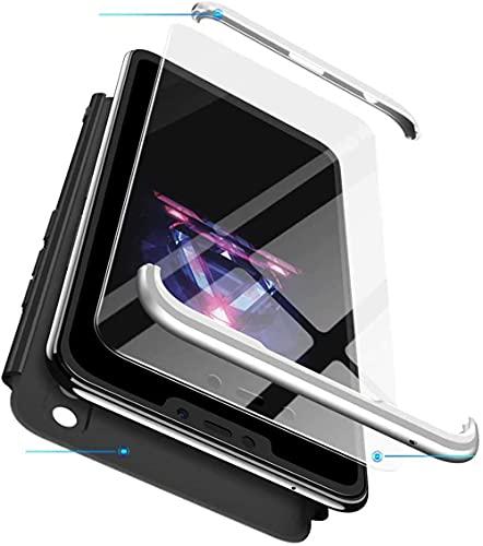 Coque Huawei Honor 9 Lite [avec Verre Trempé] WYRHS Etui 360 degré de Protection Ultra-Mince Anti-Rayures Hard PC Housse Antichoc Case Cover (Argent Noir)