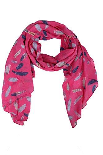 Zwillingsherz Seiden-Tuch Damen mit Feder Muster - Made in Italy - Eleganter Sommer-schal für Frauen - Hochwertiges Seidentuch/Seidenschal - Halstuch und Chiffon-Stola Dezent Stilvoll - Pink