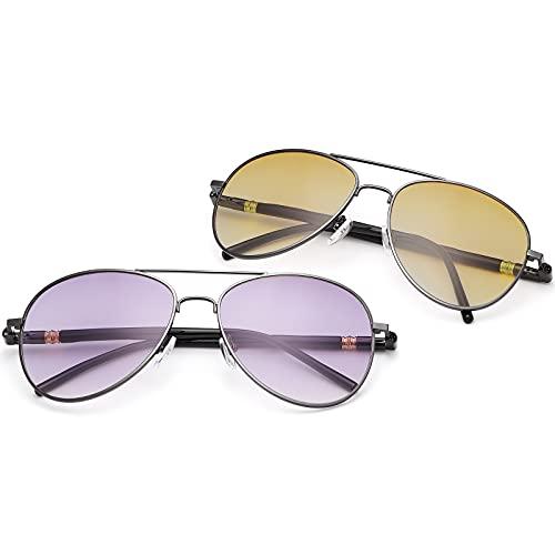 2 pares de gafas de sol de lectura invisibles bifocales vintage de aviador protección UV bisagra de resorte lectores de sol gafas de luz azul para hombres mujeres deportes conducción seguridad gafas