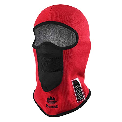 Botack Balaclava Ski Mask, Polyester Fur Full Head Mask, with Thermometer Windproof Snowboarding Red