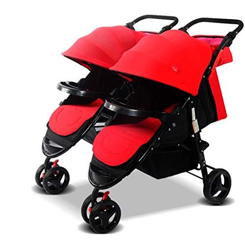 MNBV Cochecito Doble, Cochecito para muñecas Gemelo/Cochecito con Transporte Gratuito, Oxford, Cochecito para 1 muñeca niño y 1 muñeca niña (Color: Rojo Vino)