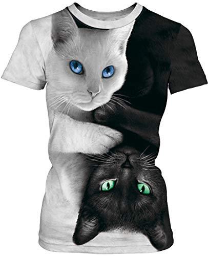 EUDOLAH Damen T-Shirt 3D Druck Top Bunt Shirt Bluse Hemd Sommer Sport 0-Graue Katze S