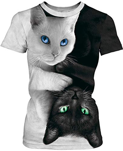 EUDOLAH Damen T-Shirt 3D Druck Top Bunt Shirt Bluse Hemd Sommer Sport A-A-Schwarz und Weiß Katze XL